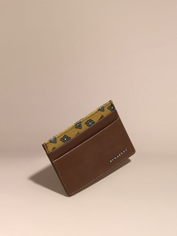 Geometric Tile Print Leather Card Case Sepia Brown