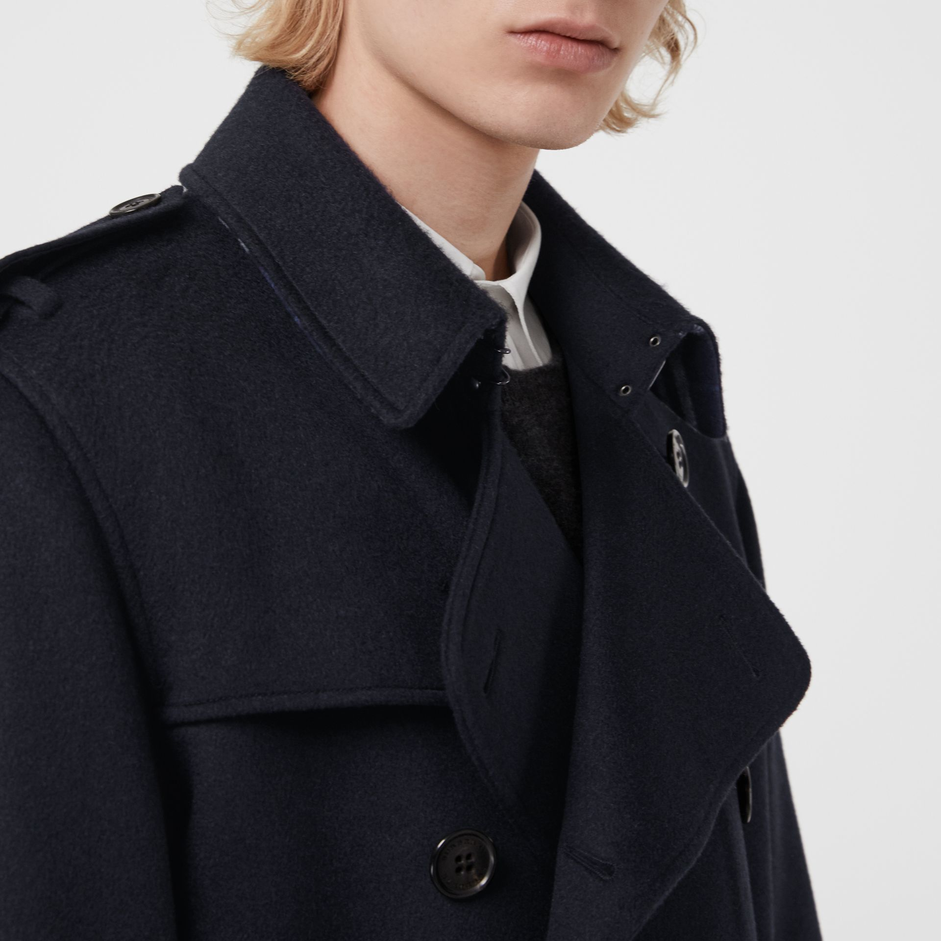 Cashmere Trench Coat in Navy - Men | Burberry Singapore - gallery image 4