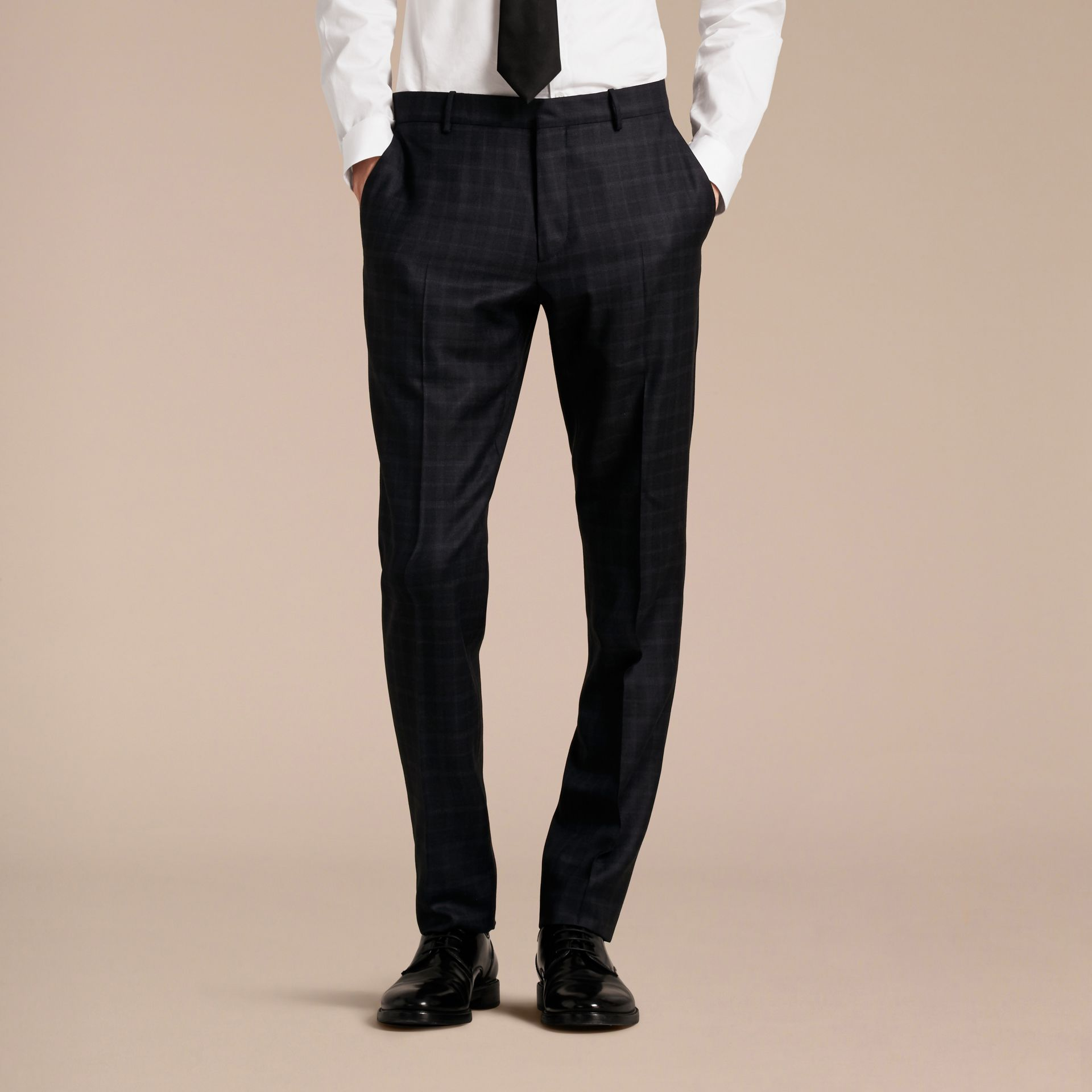 Ink Slim Fit Check Wool Tailored Trousers - gallery image 6
