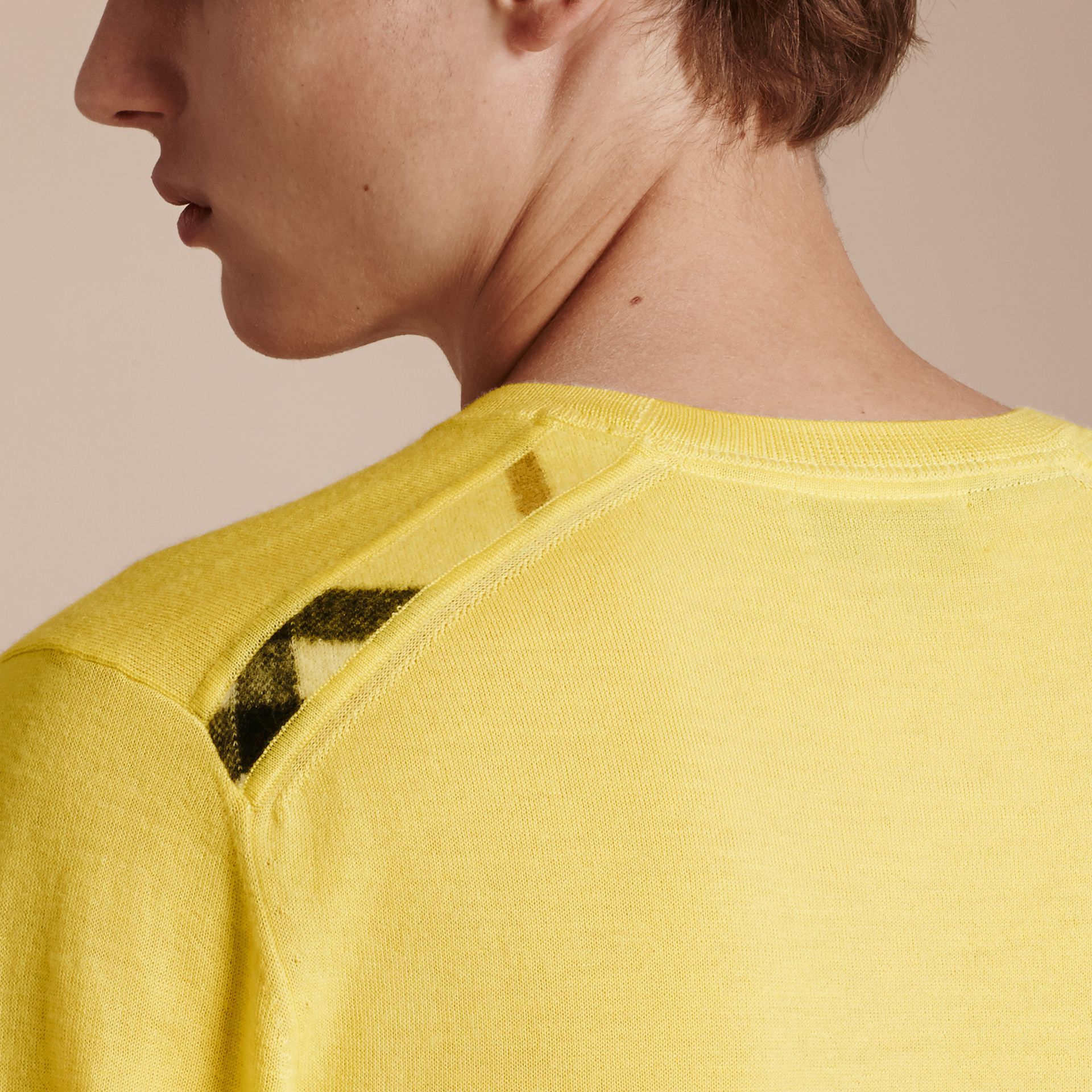 Lightweight Crew Neck Cashmere Sweater with Check Trim Pale Lemon - gallery image 5