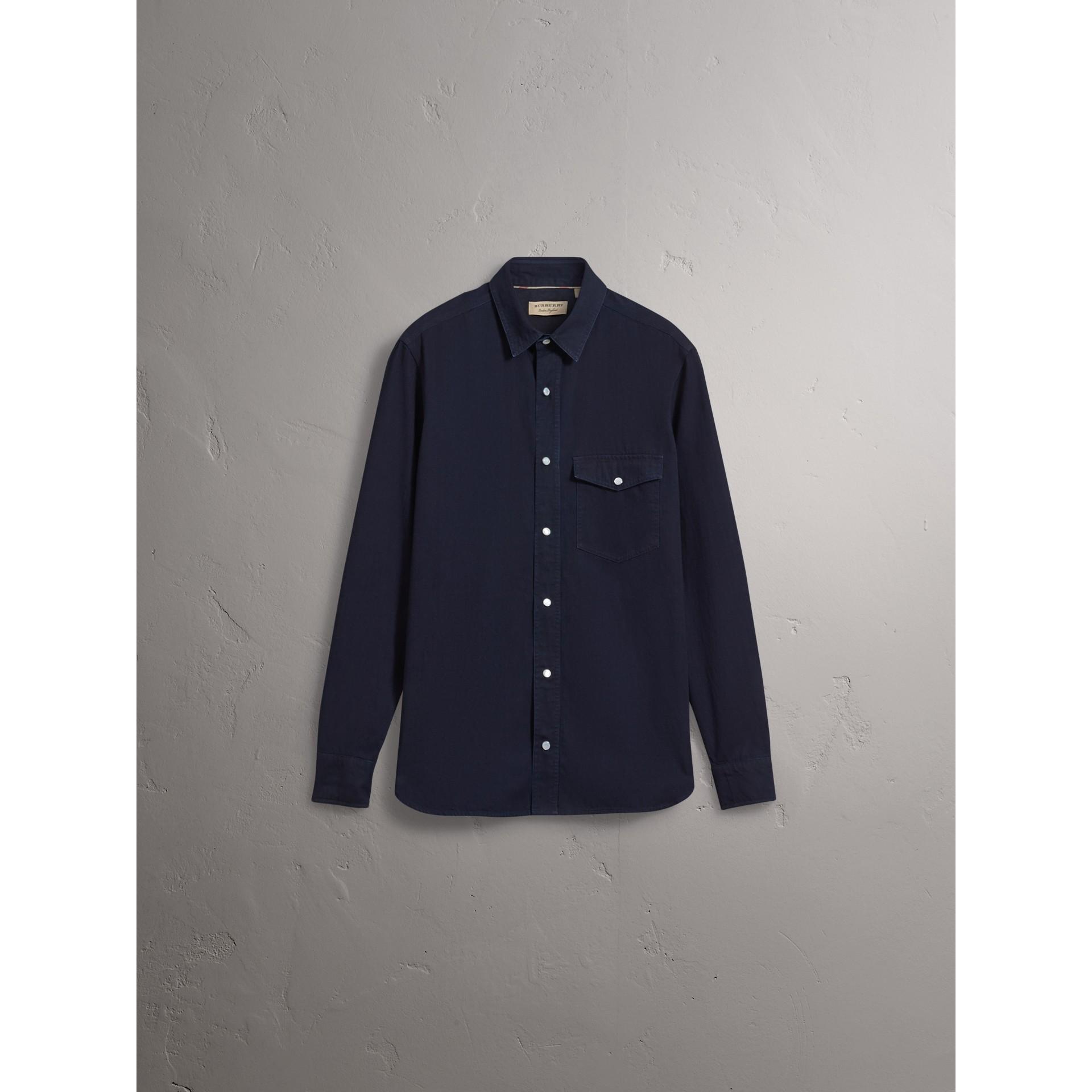 Japanese Denim Shirt in Indigo - Men | Burberry United States - gallery image 3