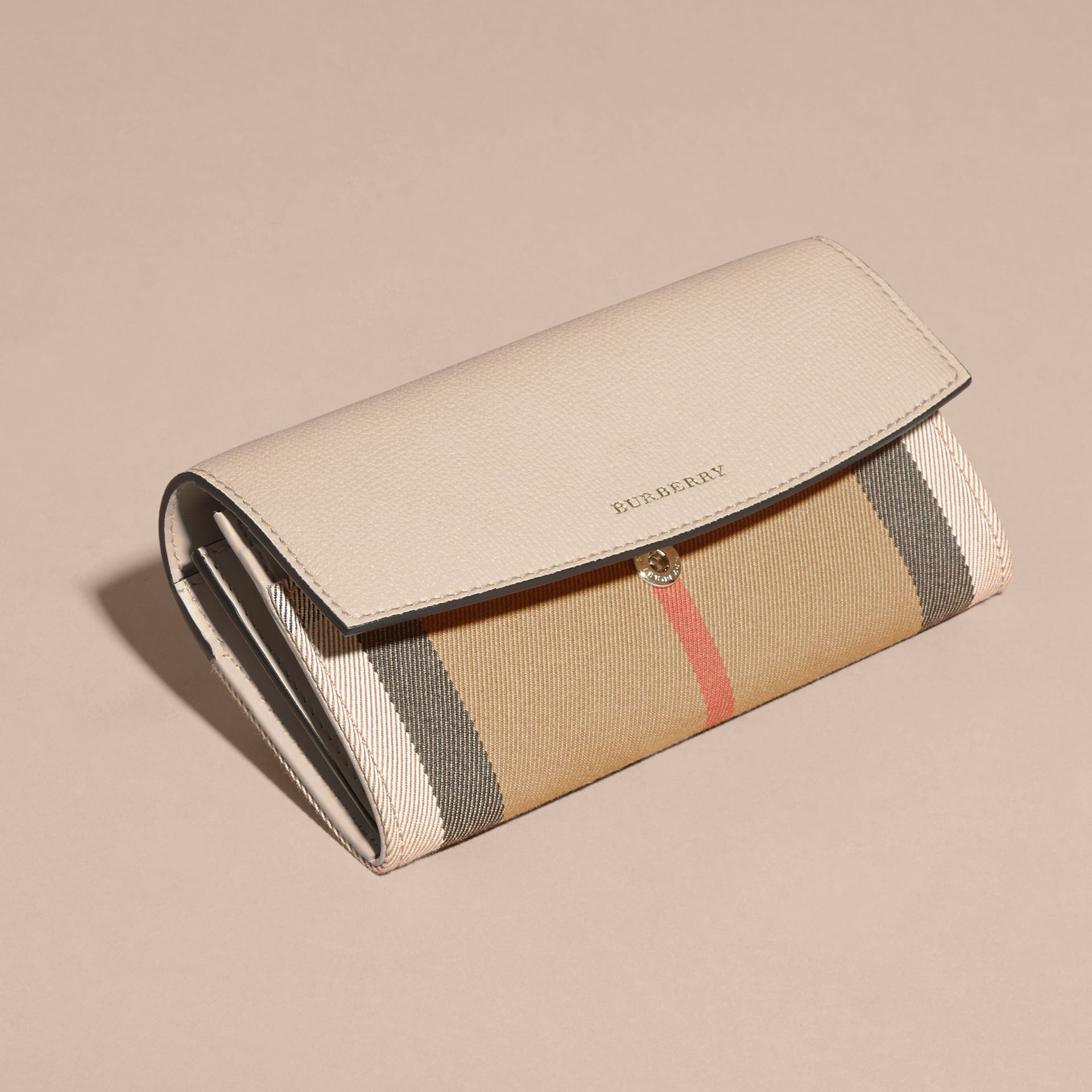 House Check And Leather Continental Wallet in Limestone - Women | Burberry Australia - gallery image 5