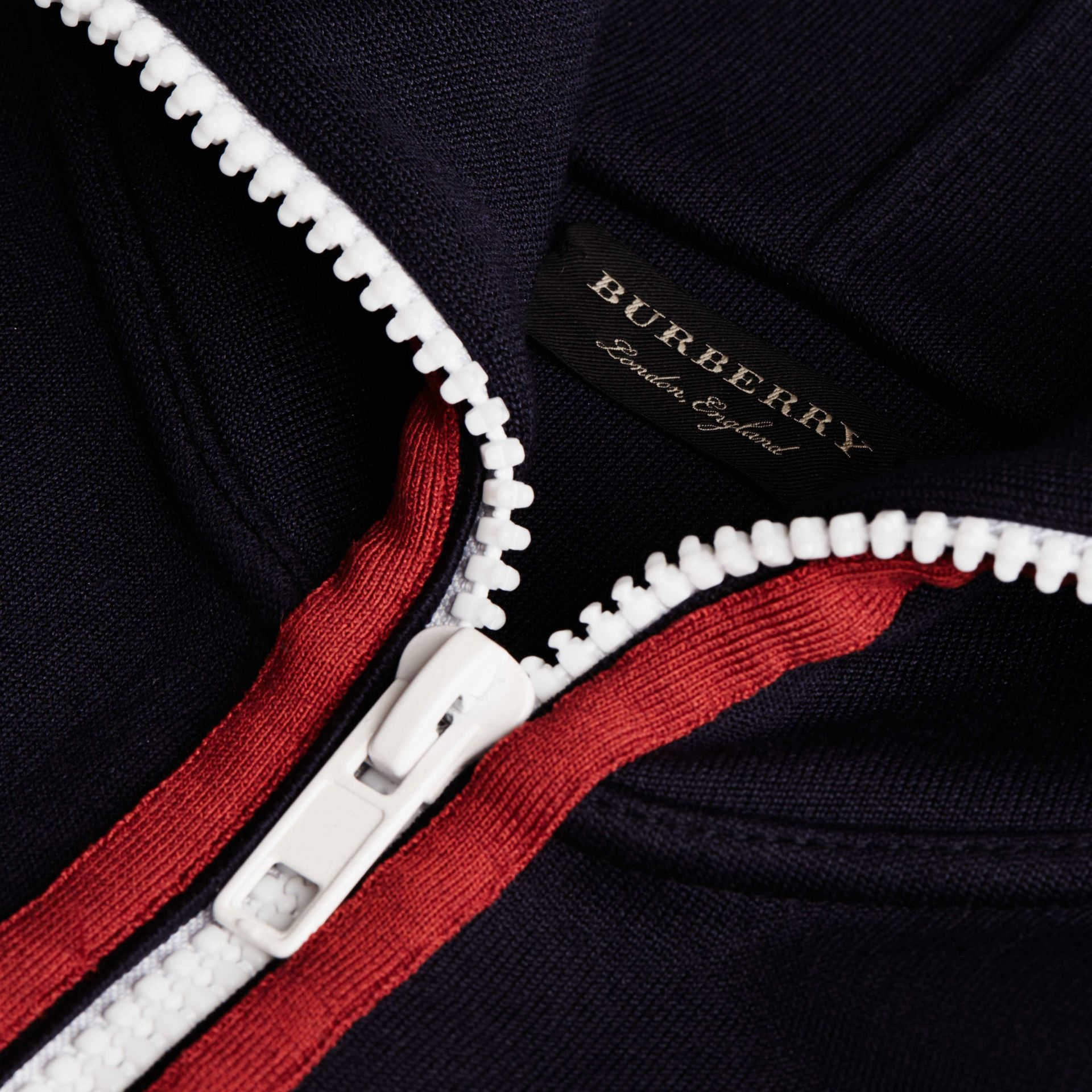 Navy/white Zip-Front Technical Silk Cardigan - gallery image 2