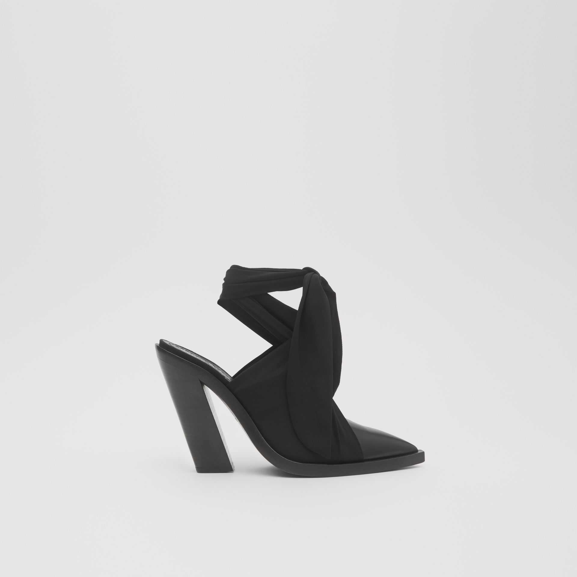 Scarf Tie Detail Leather Point-toe Mules in Black - Women | Burberry - gallery image 5