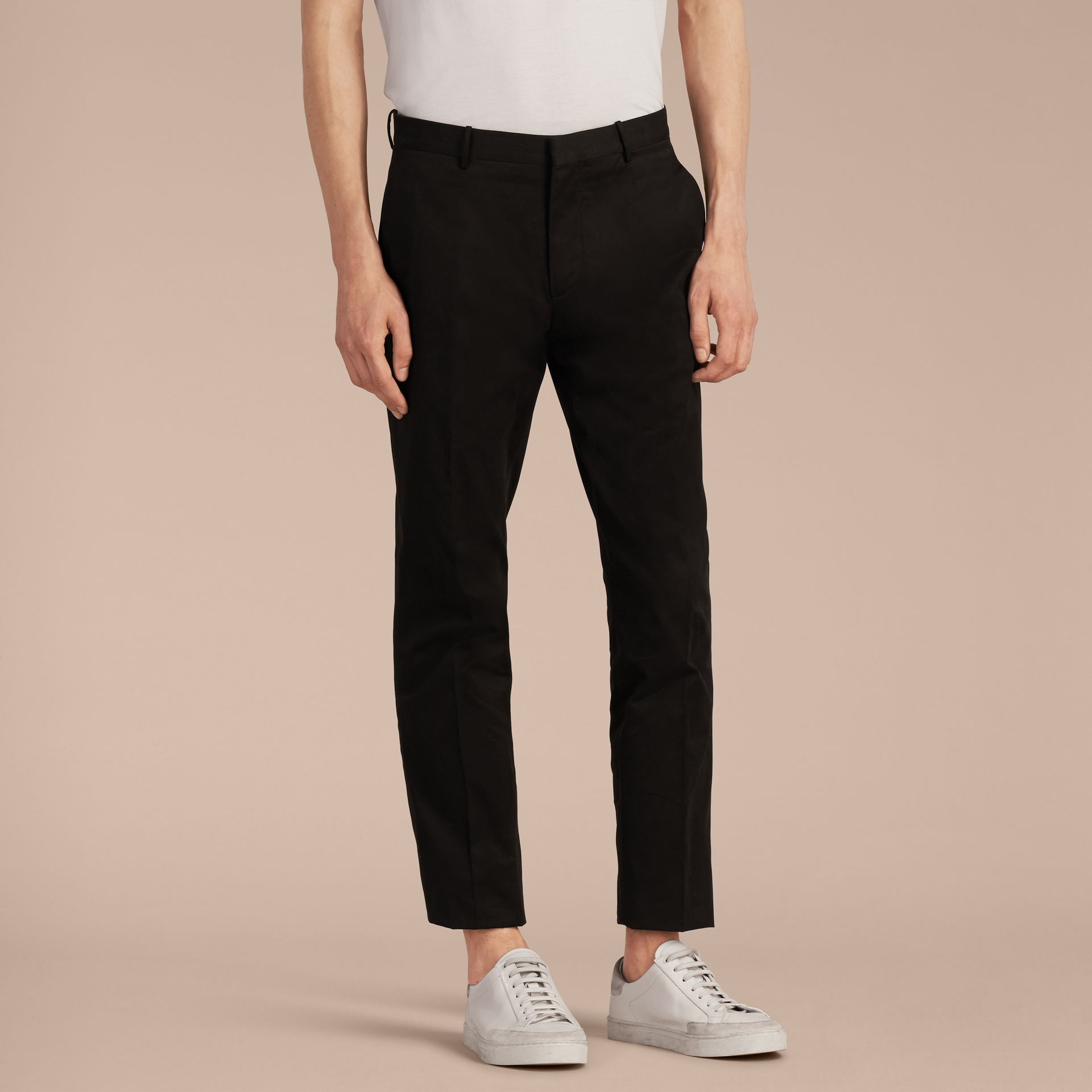 Black Slim Fit Cotton Trousers - gallery image 6