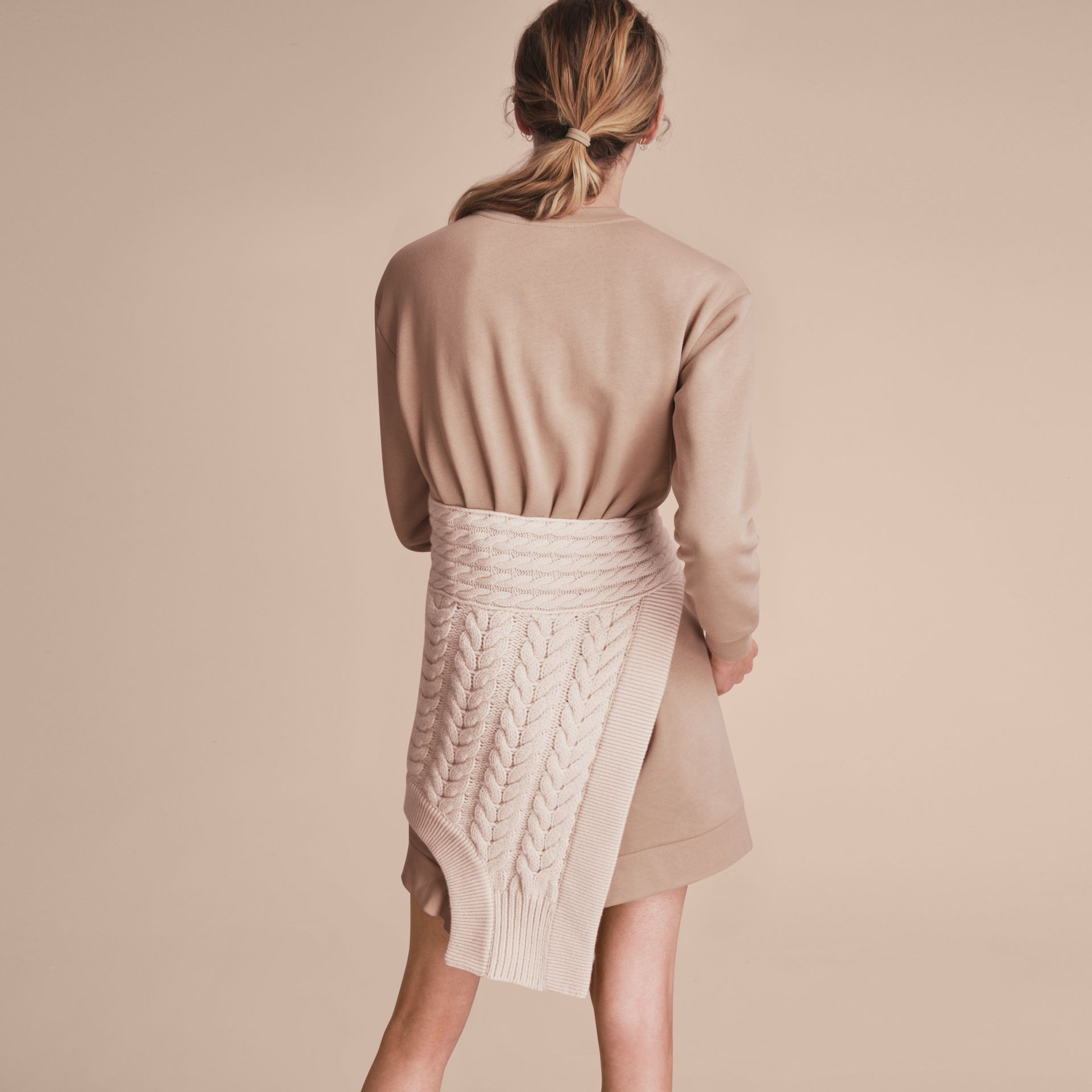 Cashmere Cable Knit Panel Sweatshirt Dress in Natural White - Women | Burberry - gallery image 2