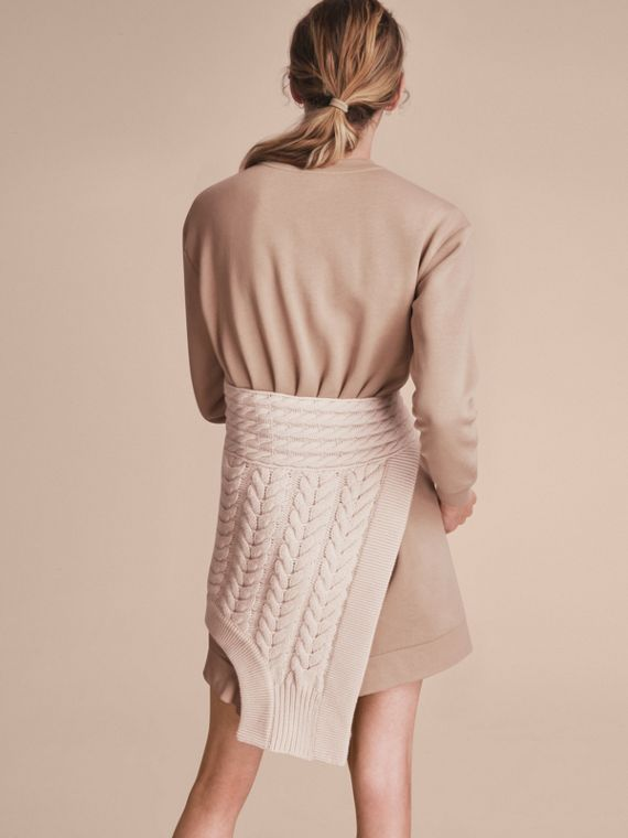 Cashmere Cable Knit Panel Sweatshirt Dress - Women | Burberry - cell image 2