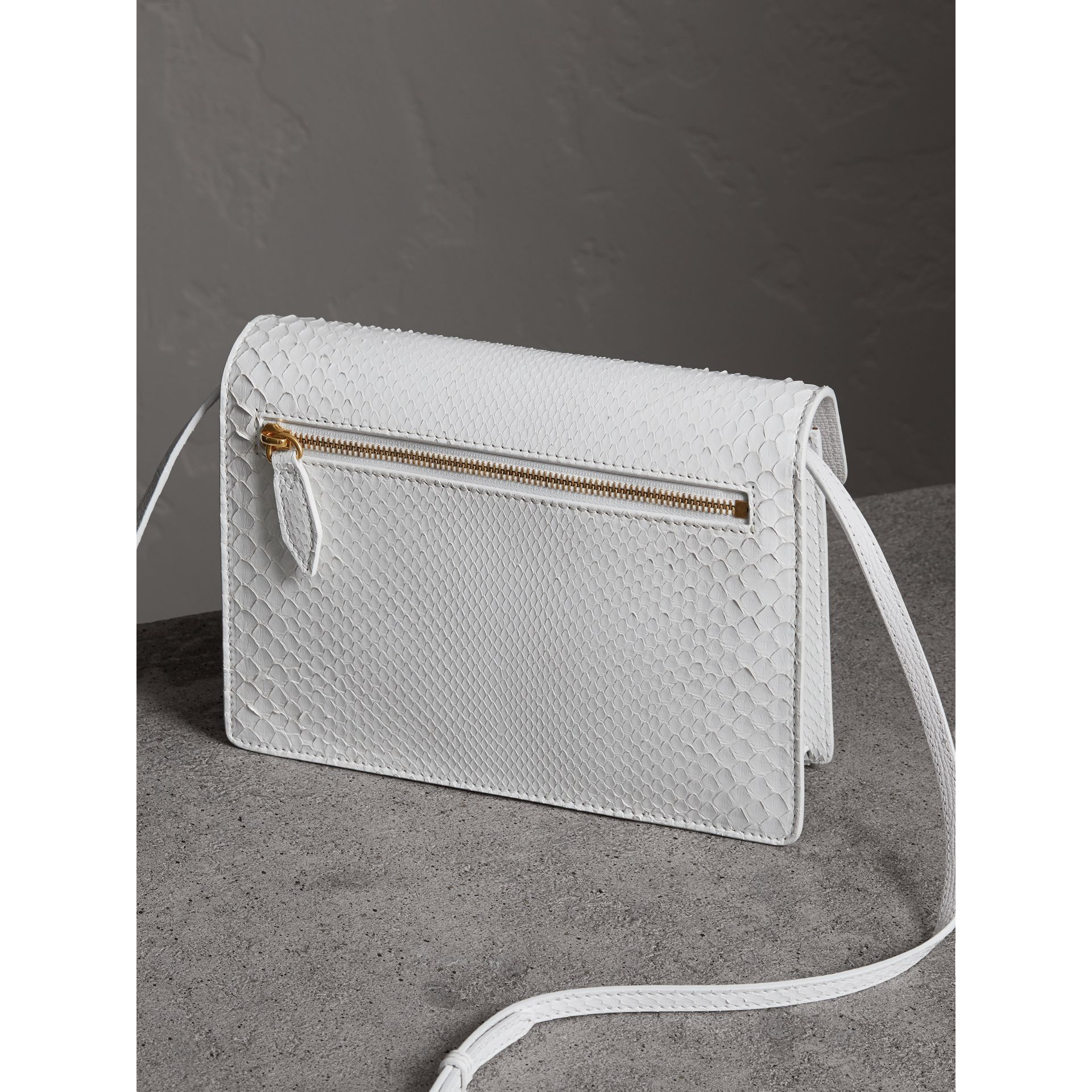 Small Python Crossbody Bag in Chalk White - Women | Burberry - gallery image 4