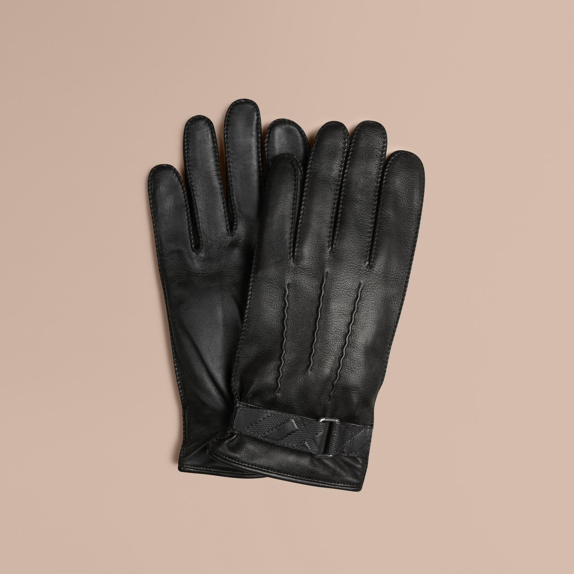 Schwarz Touchscreen-Handschuhe aus Leder mit Check-Prägung - Galerie-Bild 1