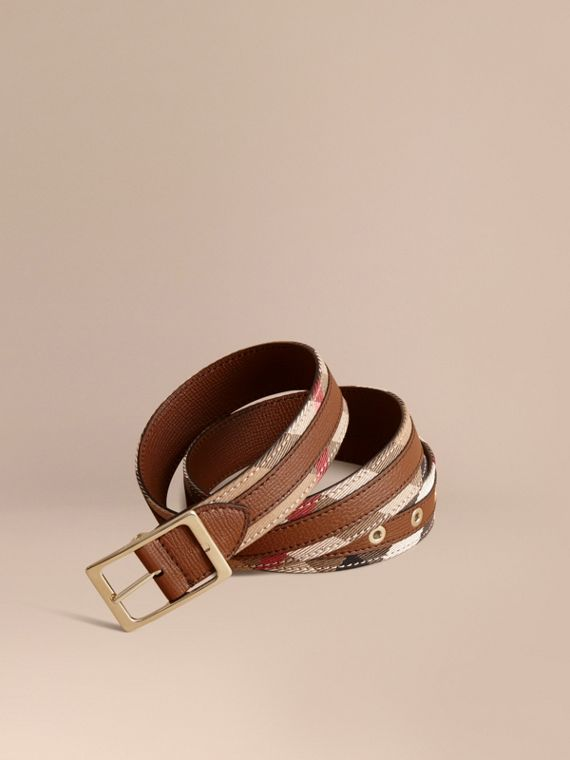 House Check and Grainy Leather Belt in Camel/tan