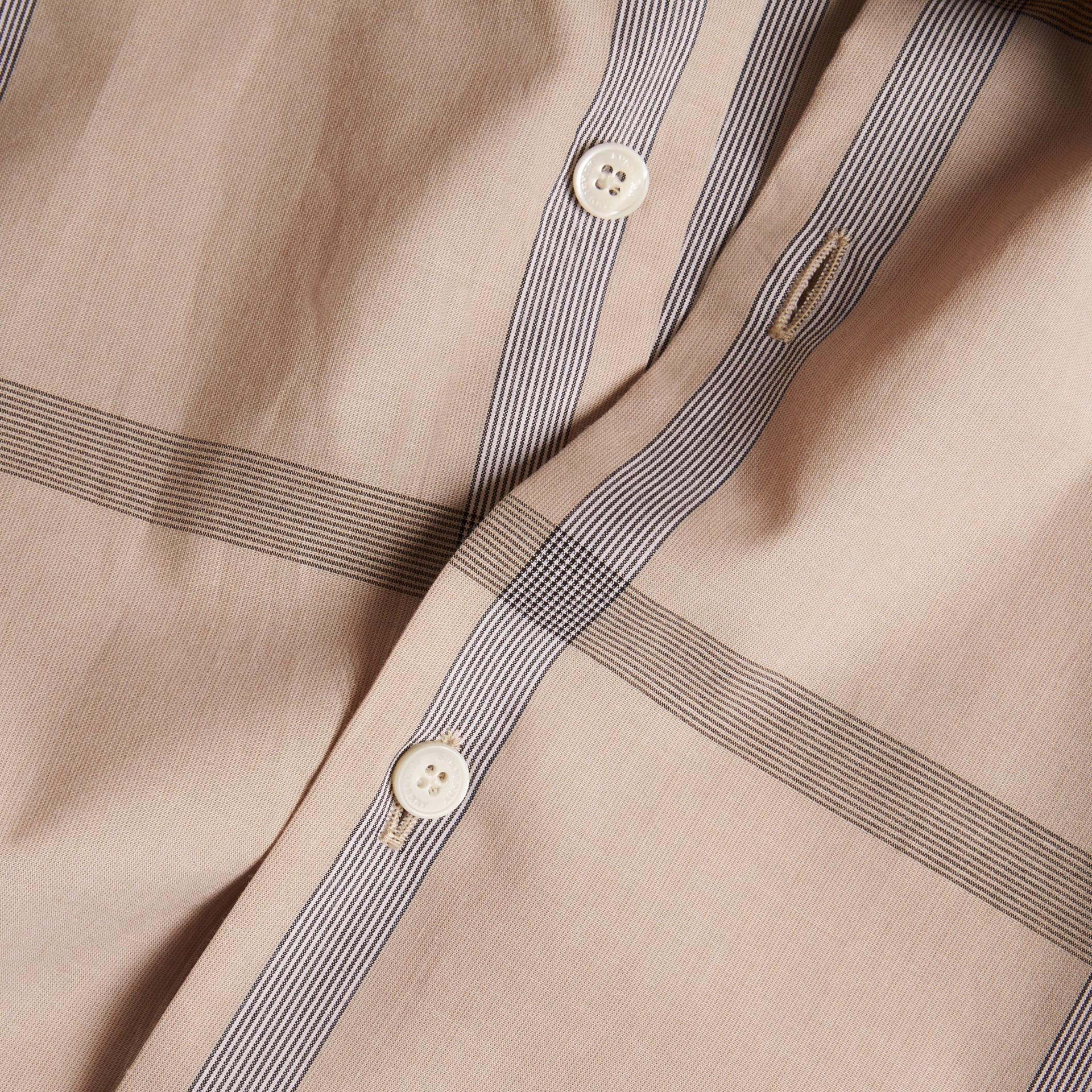 Cammello chiaro Camicia a maniche corte in cotone con motivo check Cammello Chiaro - immagine della galleria 2