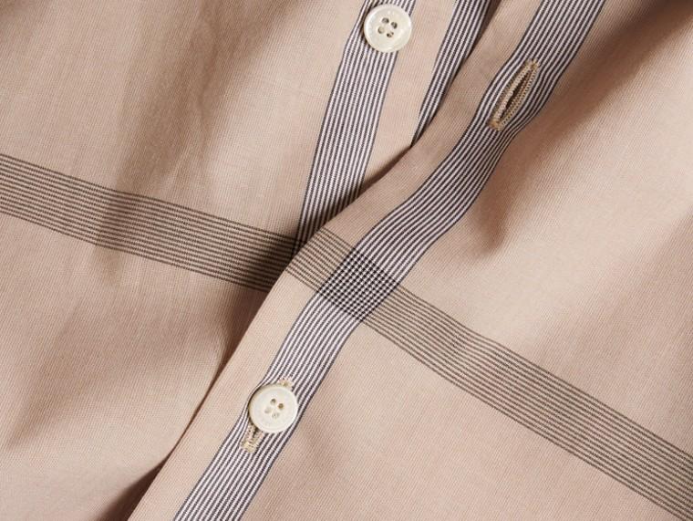Light camel Short-sleeved Check Cotton Shirt Light Camel - cell image 1