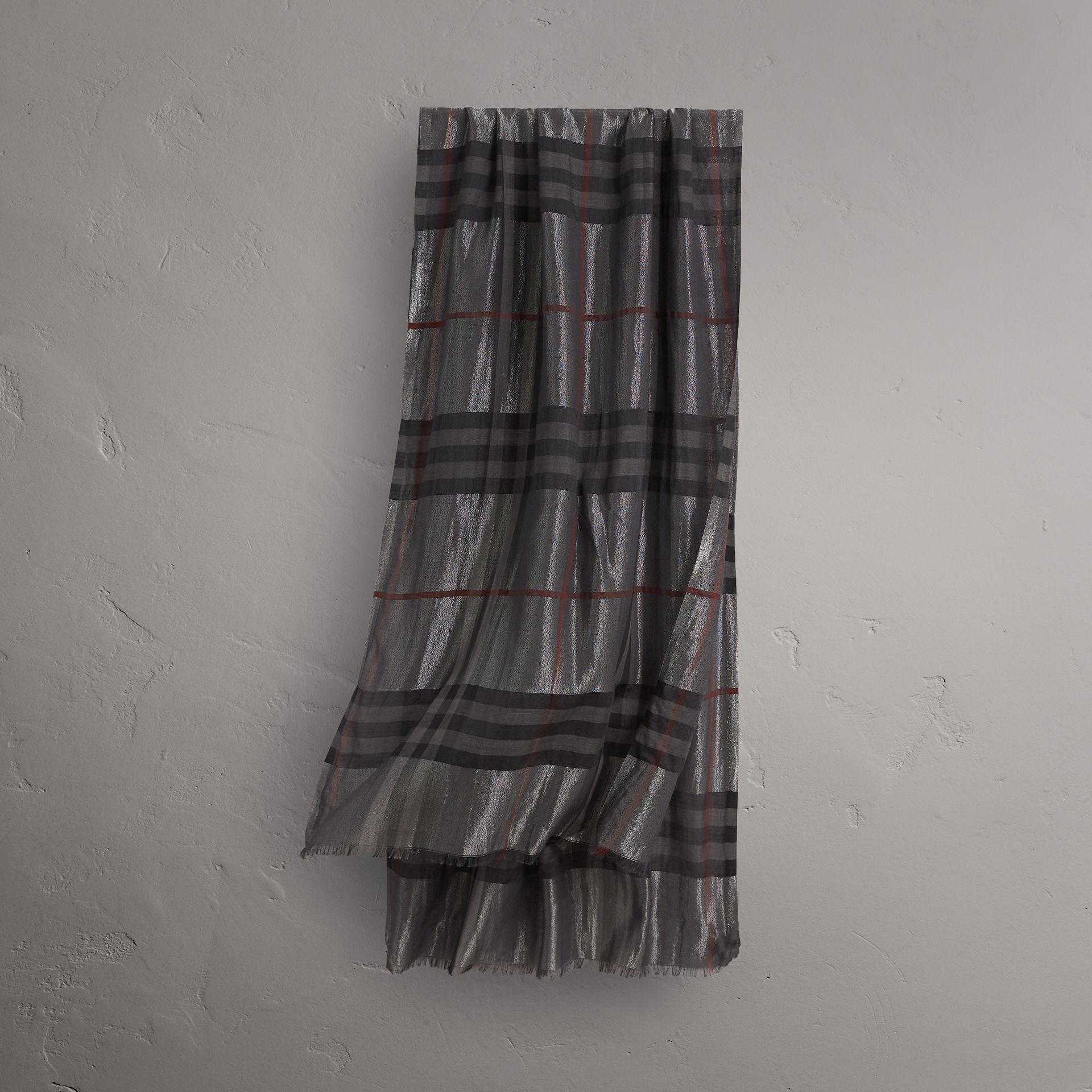 Metallic Check Silk and Wool Scarf in Charcoal - Women | Burberry United States - gallery image 0