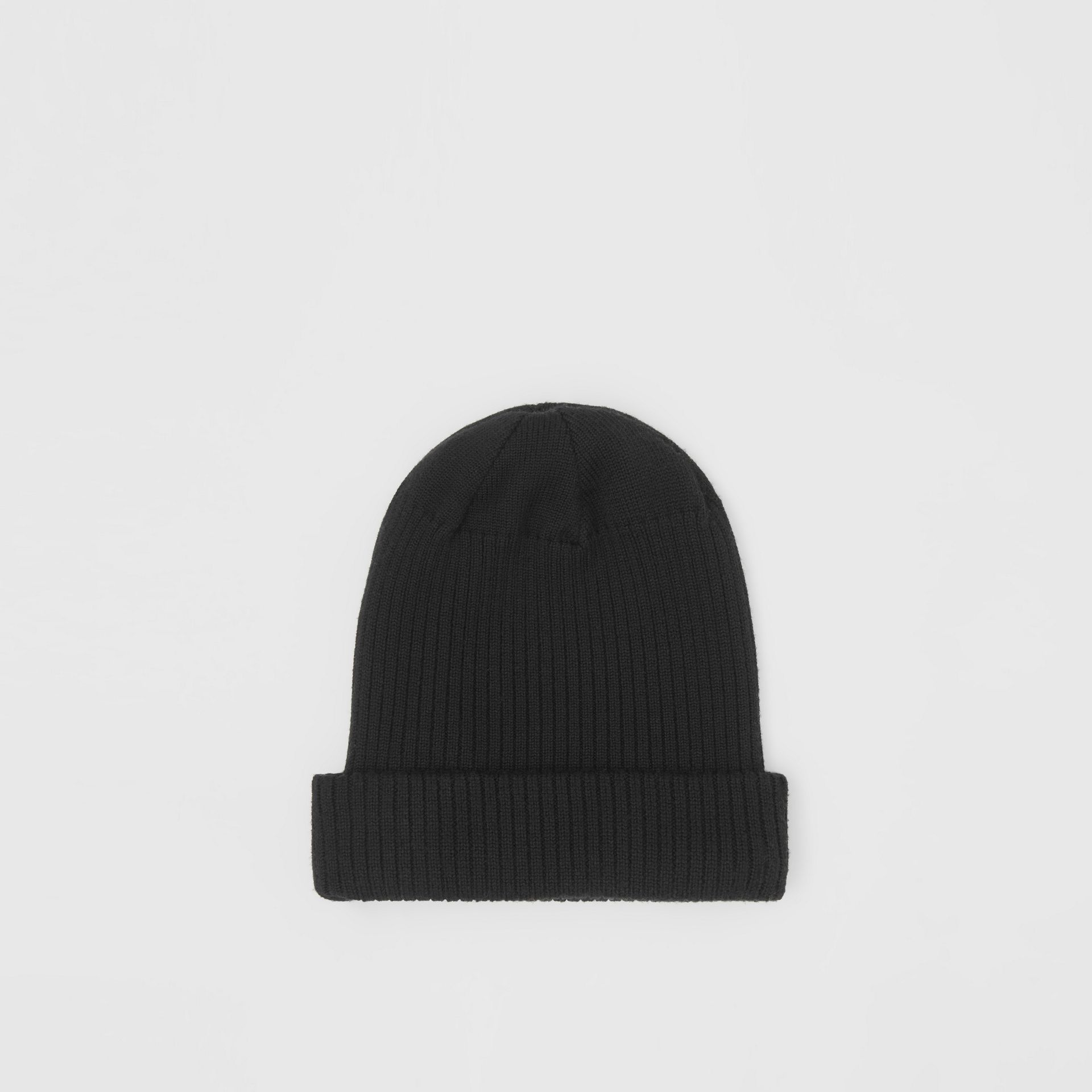 Logo Detail Rib Knit Merino Wool Beanie in Black - Children | Burberry - gallery image 4
