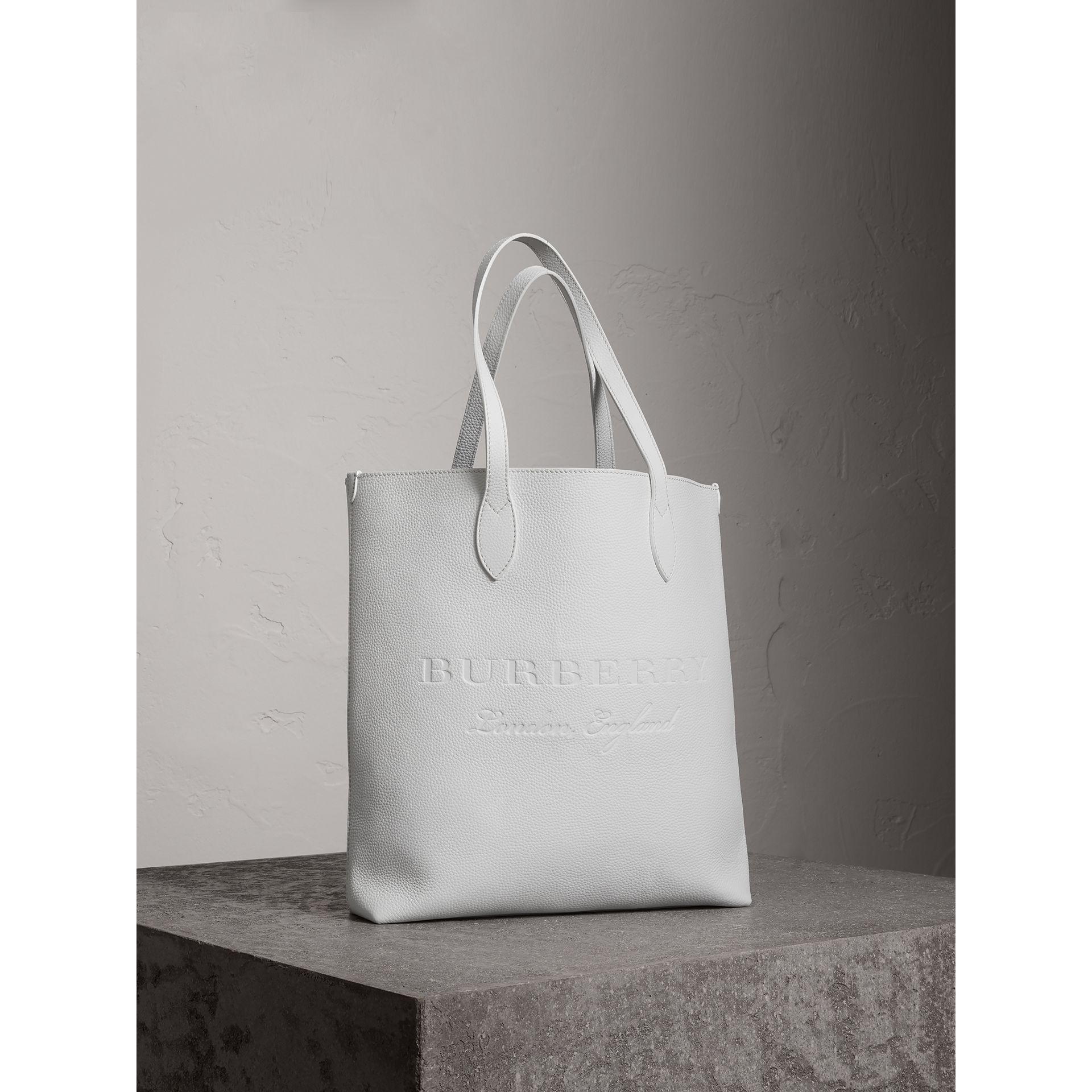Medium Embossed Leather Tote in Chalk White | Burberry Singapore - gallery image 6