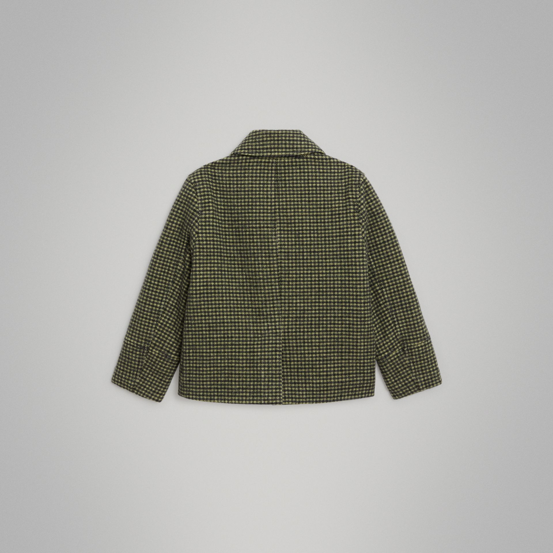 Check Wool Blend Tailored Coat in Grass Green | Burberry - gallery image 3