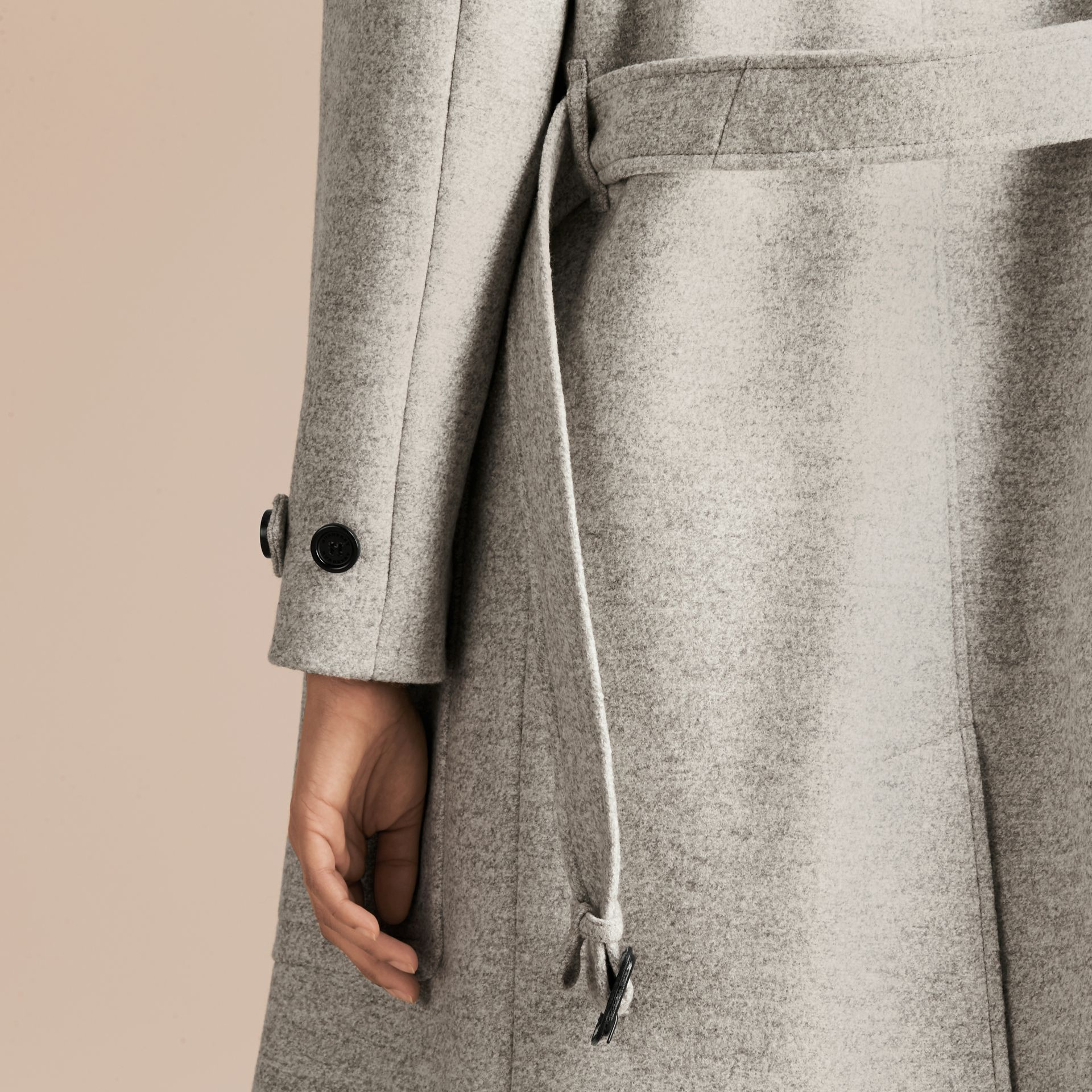 Pale grey melange Wool Belted Wrap Coat - gallery image 5