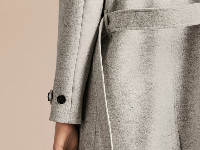Pale grey melange Wool Belted Wrap Coat - cell image 4