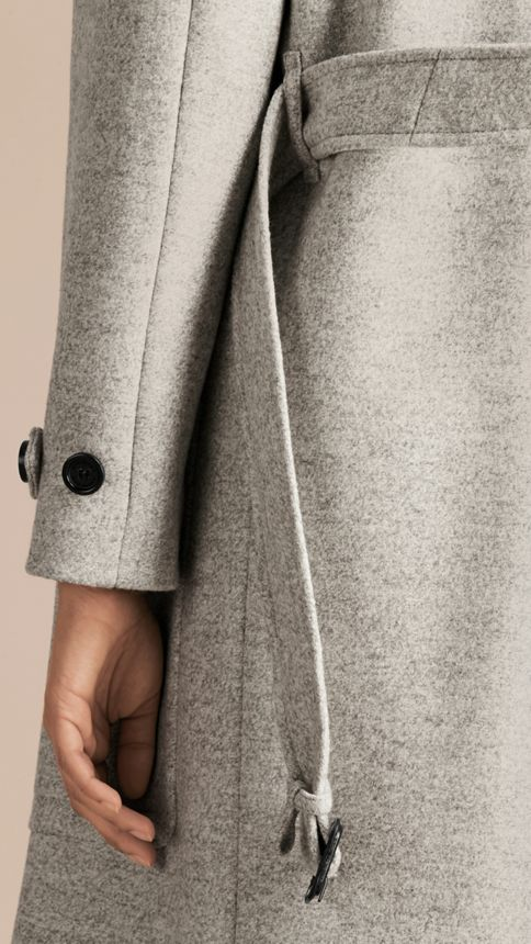 Pale grey melange Wool Belted Wrap Coat - Image 8