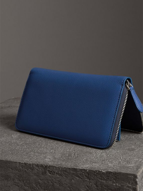 Grainy Leather Ziparound Wallet in Bright Ultramarine - Men | Burberry - cell image 2