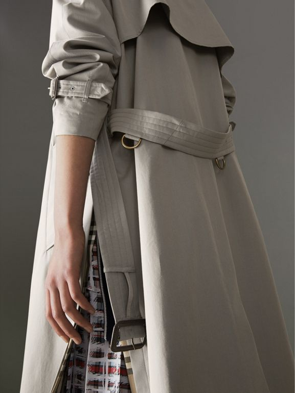 Side-slit Tropical Gabardine Trench Coat in Green Grey - Women | Burberry - cell image 1