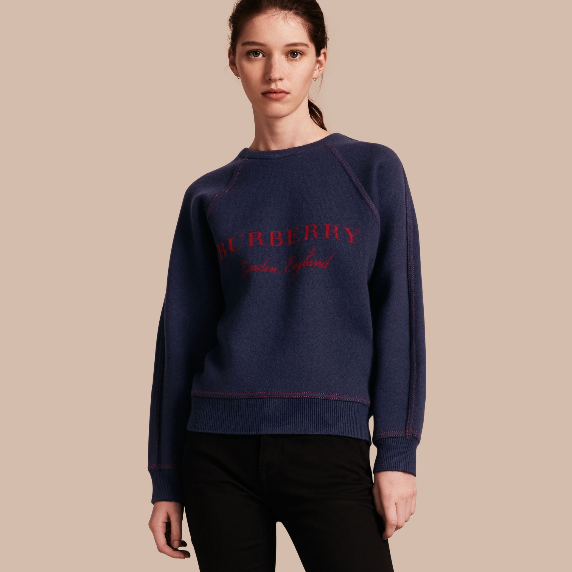 Topstitch Detail Wool Cashmere Blend Sweater in Navy - Women | Burberry - gallery image 1