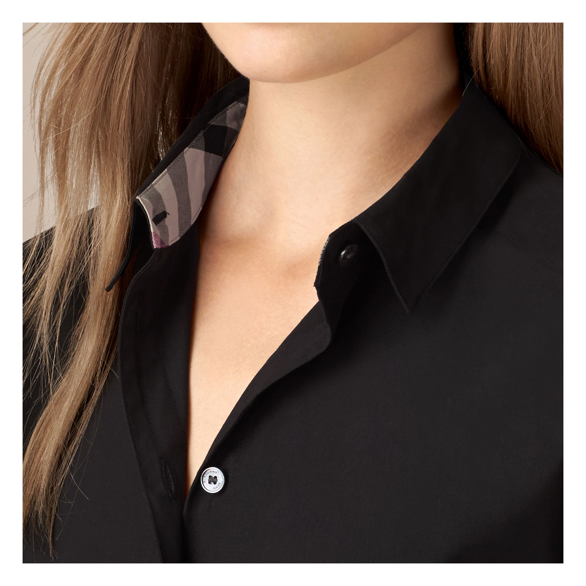 Black Check Detail Stretch-cotton Shirt - gallery image 2