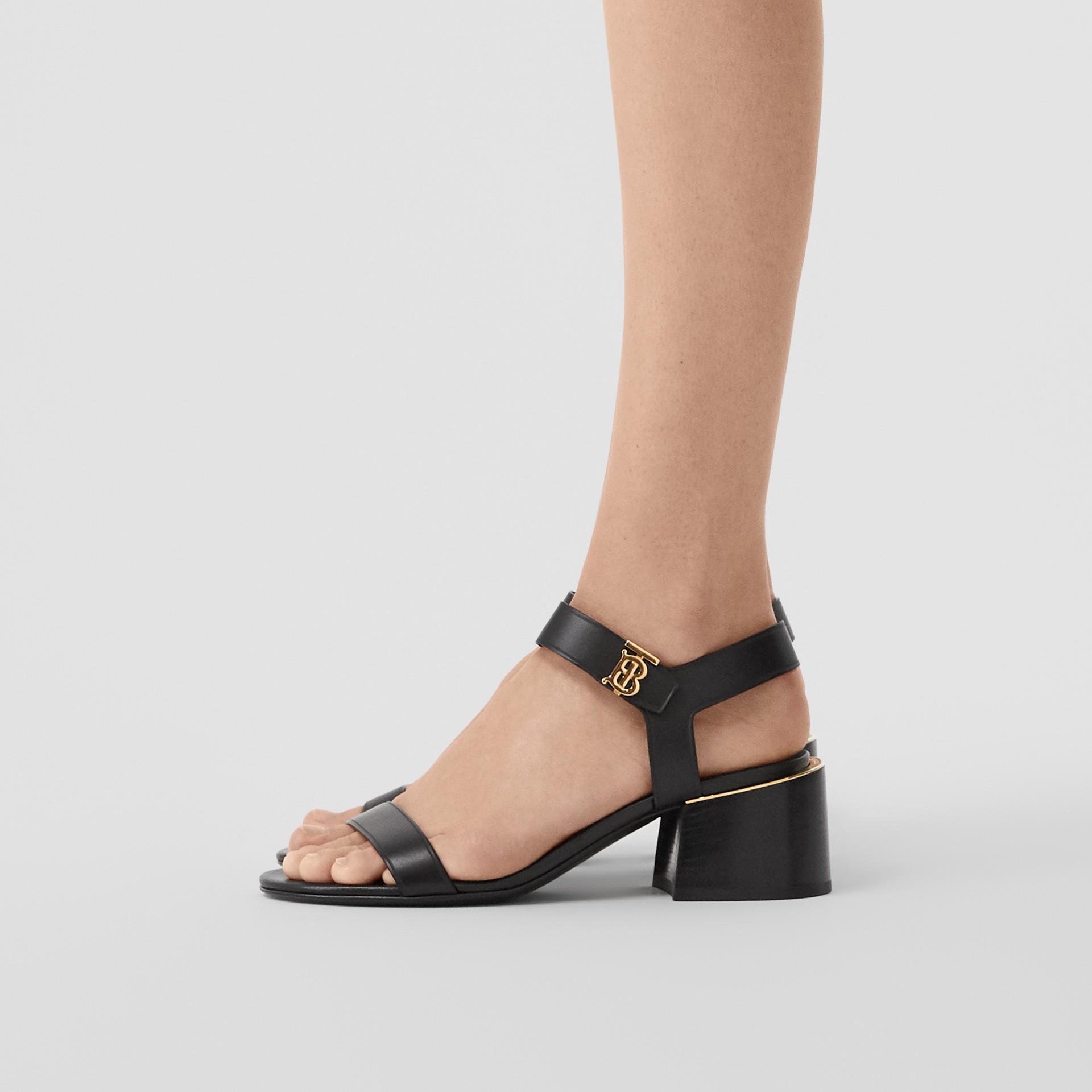 Monogram Motif Leather Block-heel Sandals in Black - Women | Burberry - gallery image 2