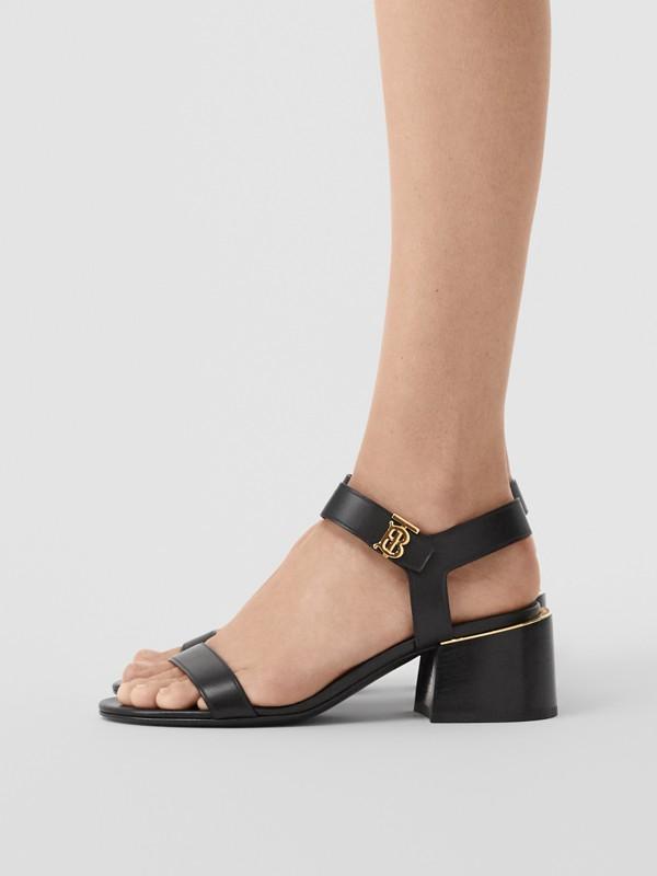 Monogram Motif Leather Block-heel Sandals in Black - Women | Burberry - cell image 2