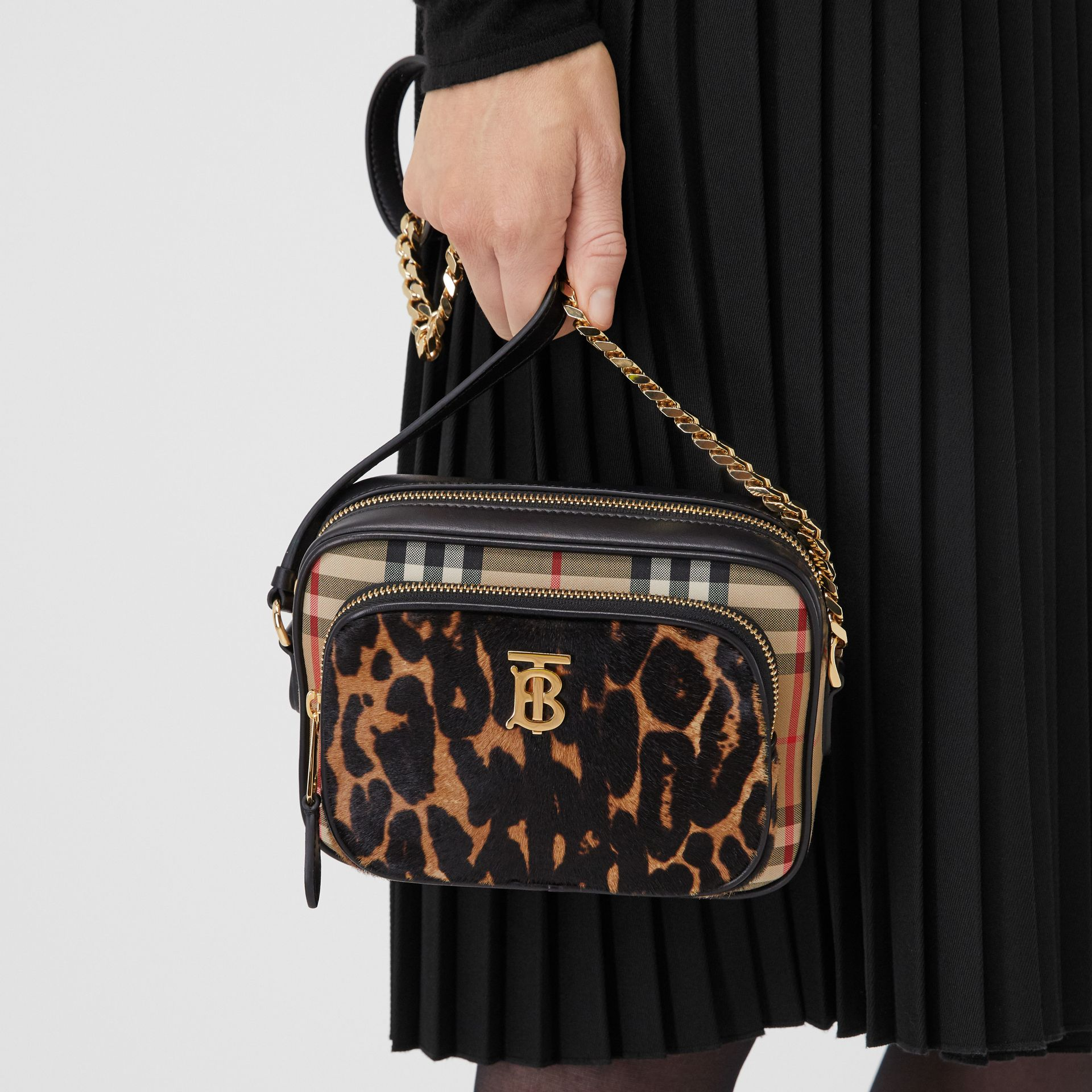 Vintage Check and Leopard Print Calf Hair Camera Bag in Black | Burberry - gallery image 2