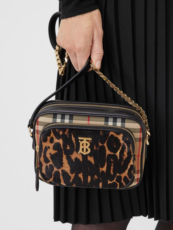 Vintage Check and Leopard Print Calf Hair Camera Bag in Black | Burberry - cell image 2