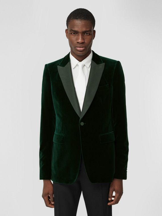 English Fit Silk Trim Velvet Tailored Jacket in Dark Pine Green