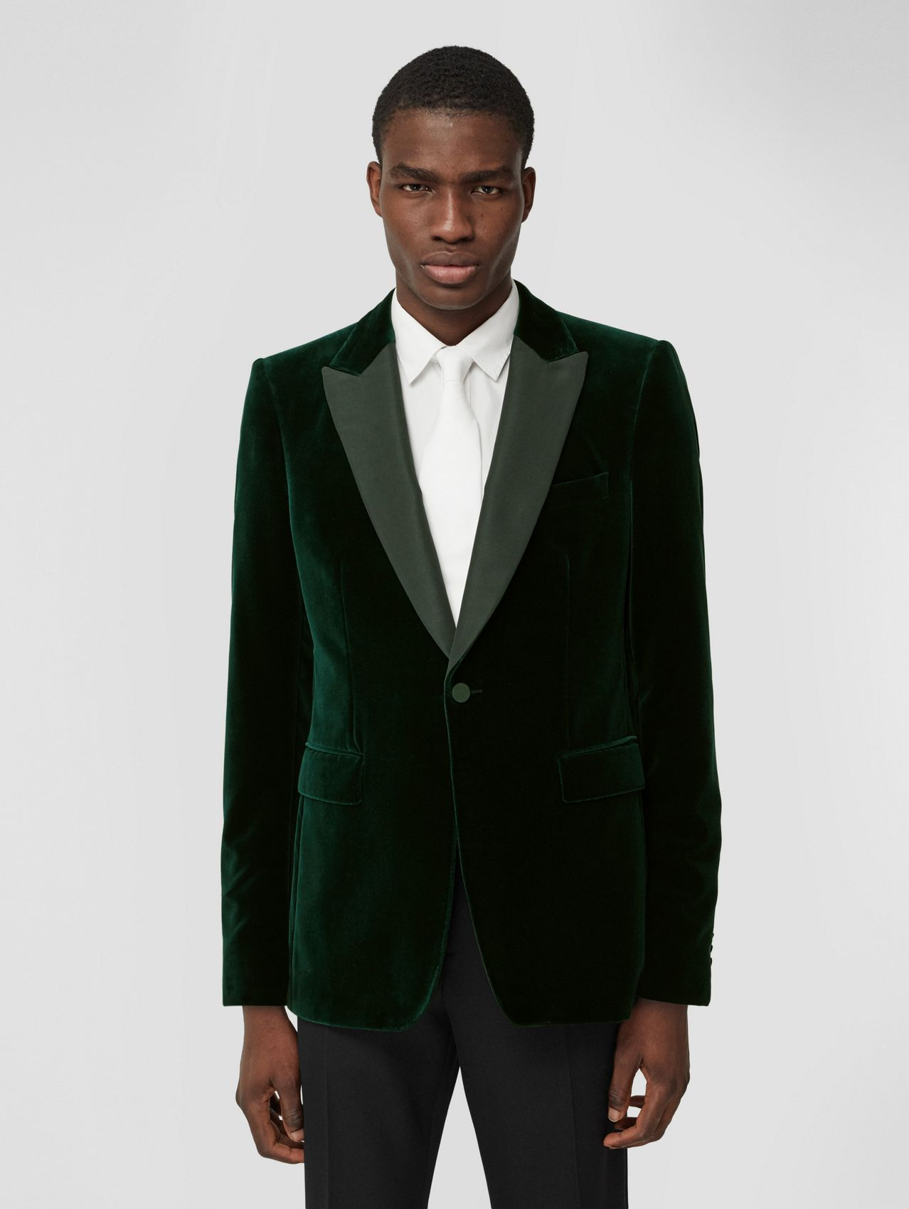 English Fit Silk Trim Velvet Tailored Jacket (Dark Pine Green)