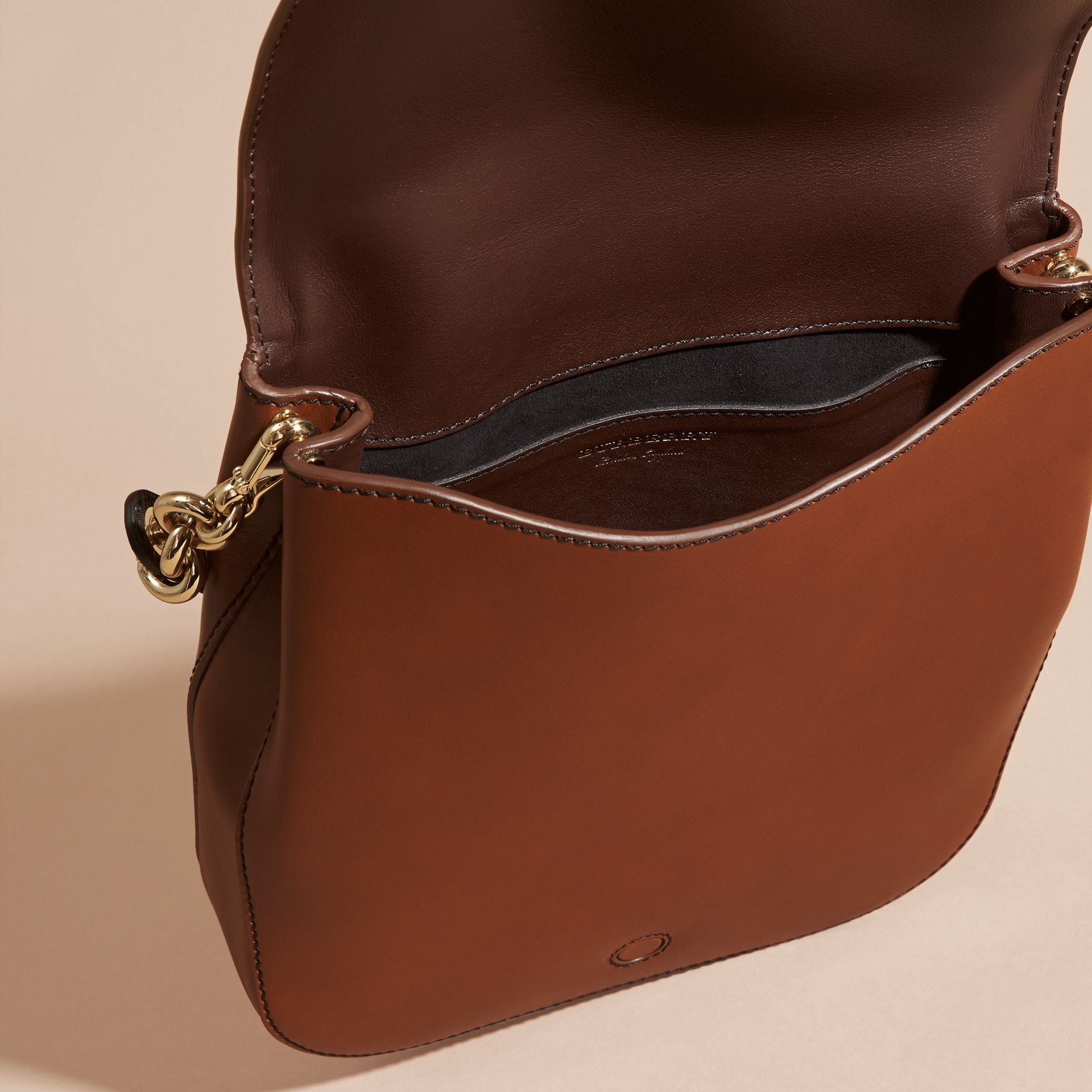 Tan The Buckle Satchel in Smooth Leather - gallery image 5