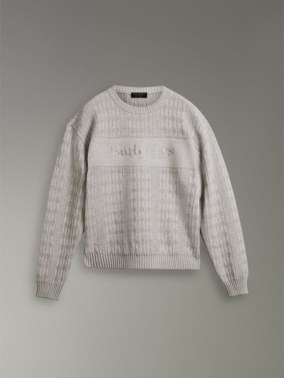 Reissued Lambswool Cotton Sweater in Light Grey Melange - Women | Burberry Hong Kong - cell image 3