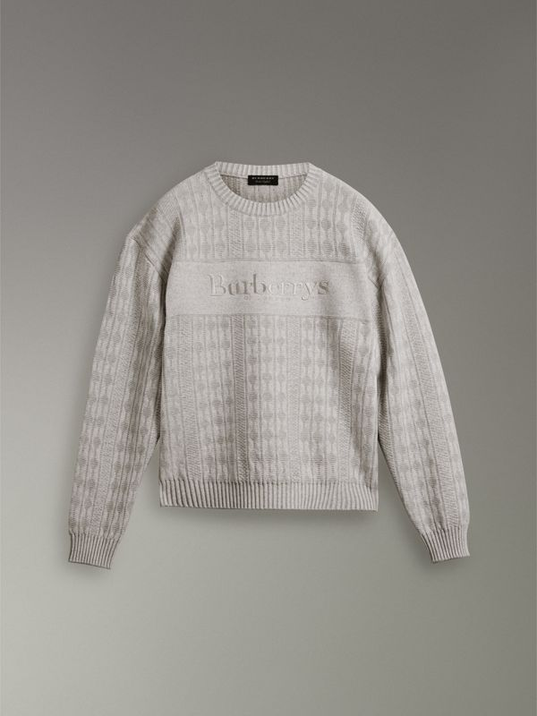 Reissued Lambswool Cotton Sweater in Light Grey Melange - Women | Burberry United States - cell image 3