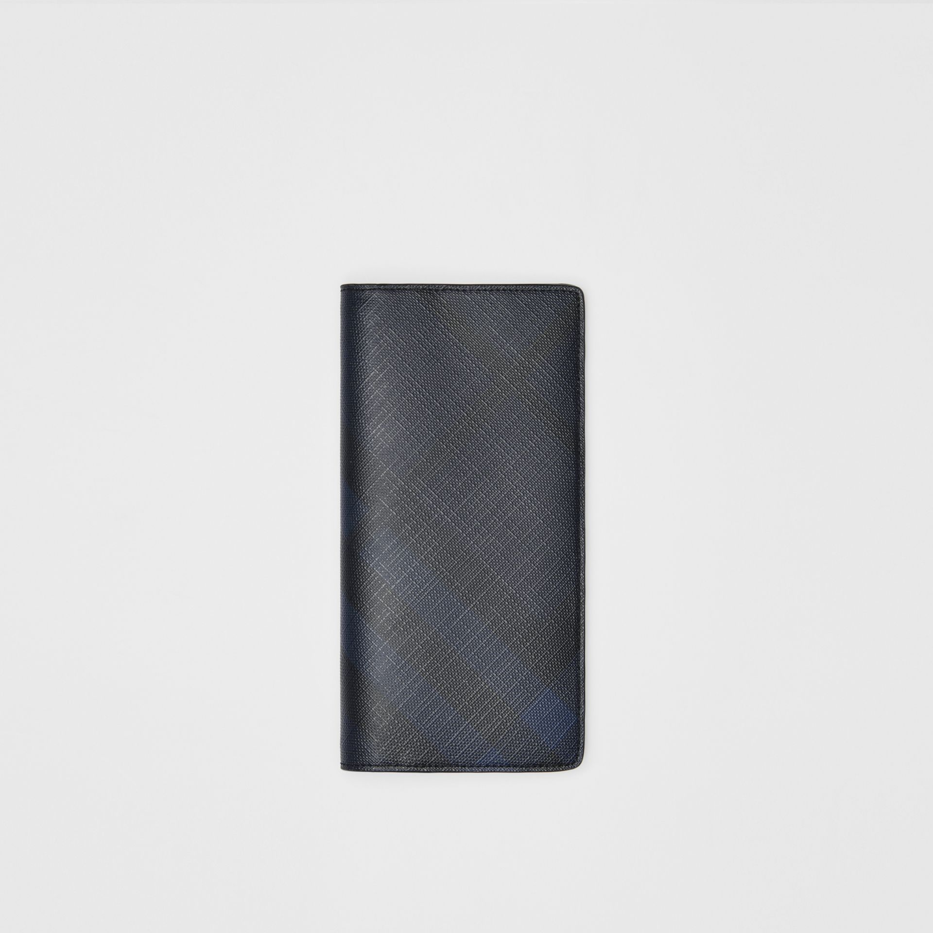 London Check and Leather Continental Wallet in Navy/black - Men | Burberry - gallery image 0