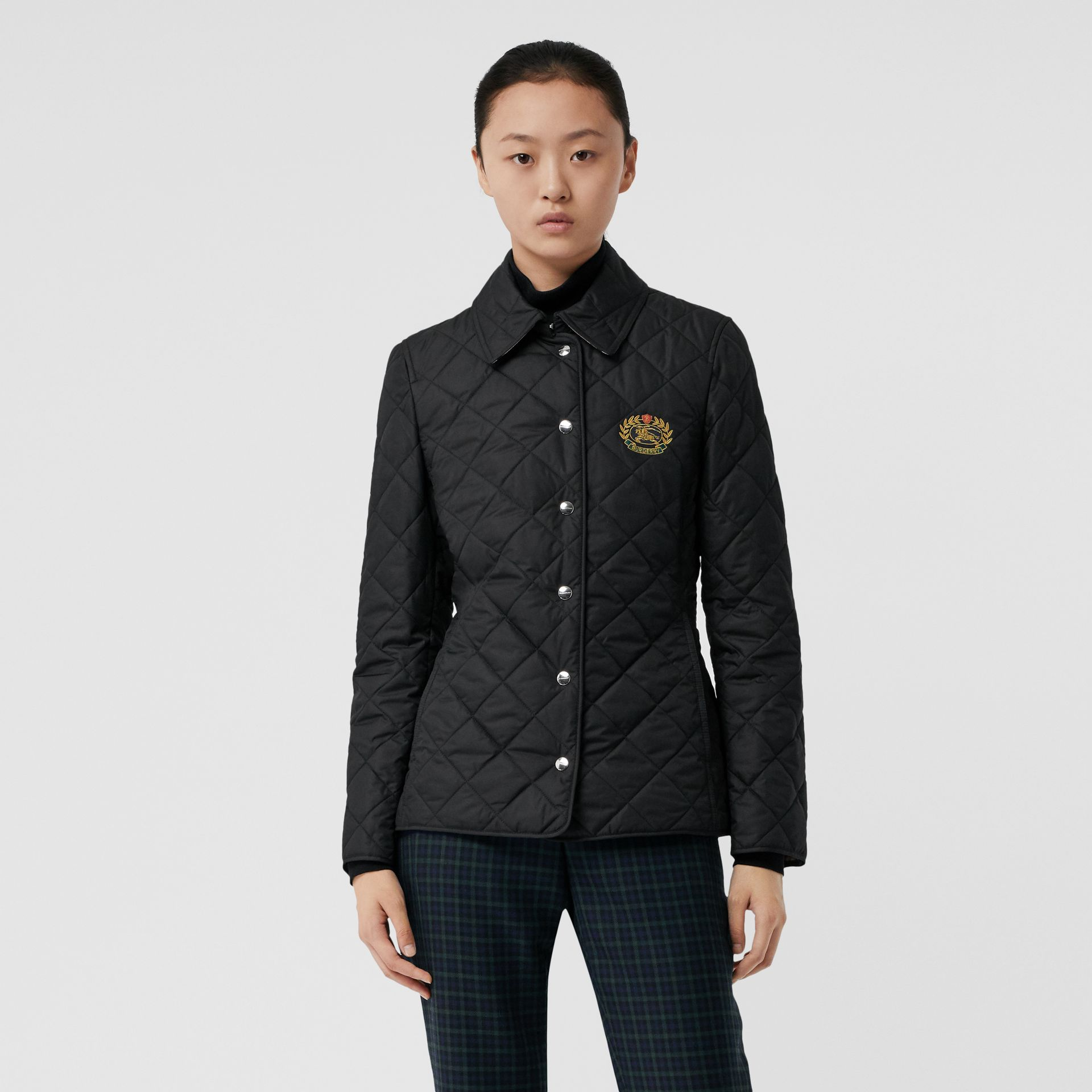 Embroidered Crest Diamond Quilted Jacket in Black - Women | Burberry United States - gallery image 6