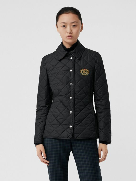 Embroidered Crest Diamond Quilted Jacket in Black