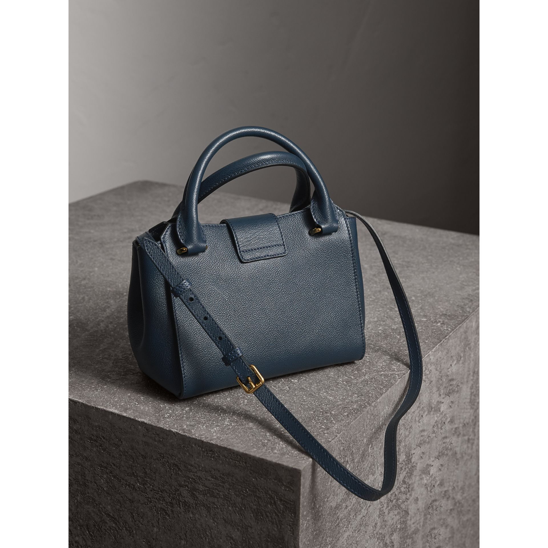 The Small Buckle Tote in Grainy Leather in Blue Carbon - Women | Burberry Australia - gallery image 4