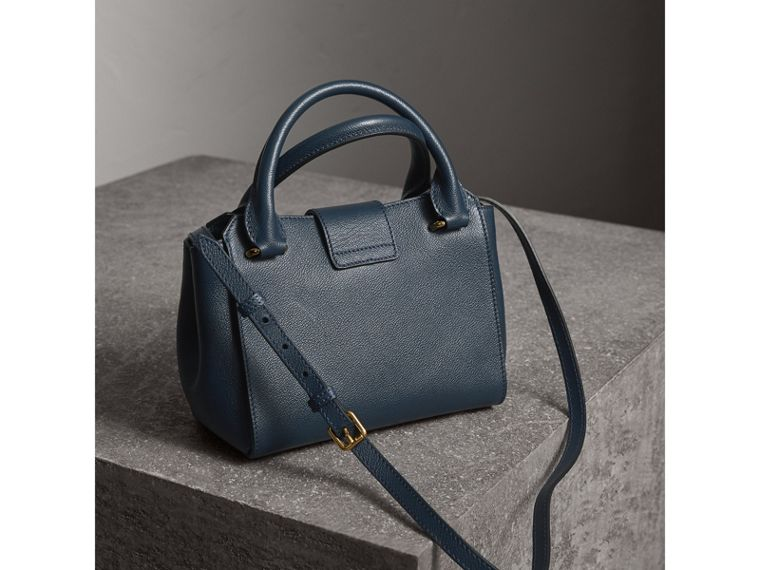 The Small Buckle Tote in Grainy Leather in Blue Carbon - Women | Burberry Australia - cell image 4