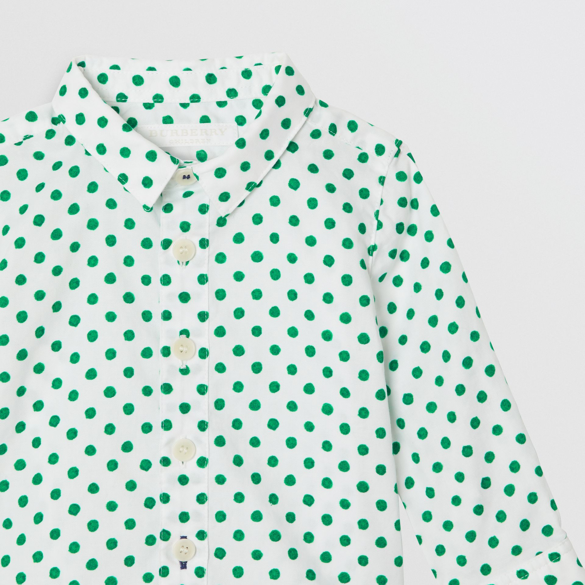 Polka Dot Cotton Oxford Shirt in Emerald Green - Children | Burberry - gallery image 4