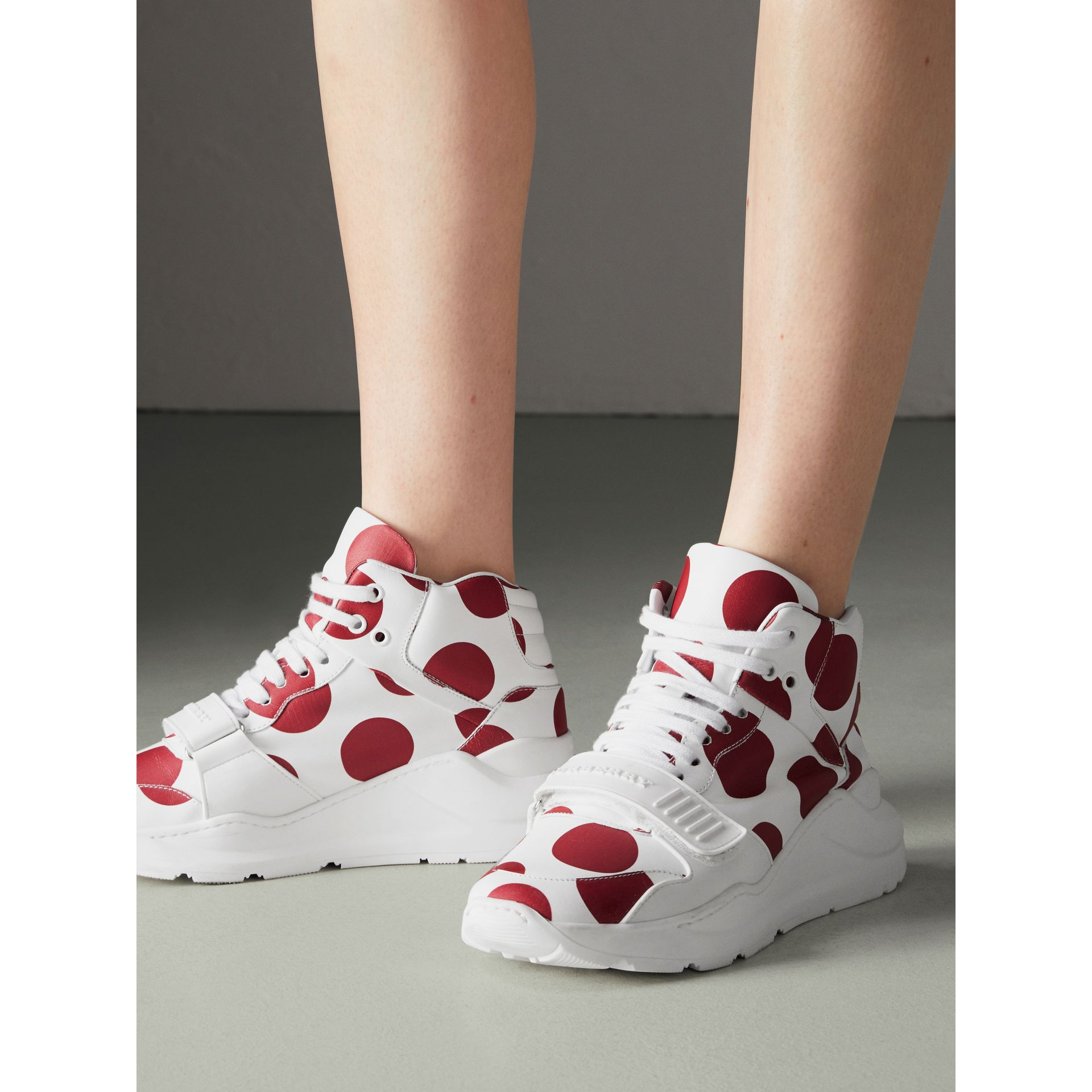 Spot Print Leather High-top Sneakers in Windsor Red/optic White - Women | Burberry - gallery image 2
