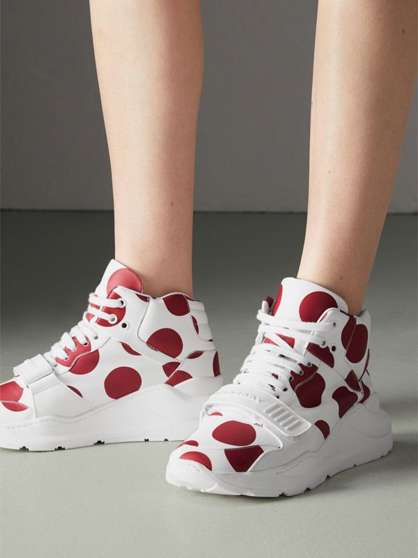 Spot Print Leather High-top Sneakers in Windsor Red/optic White - Women | Burberry - cell image 2