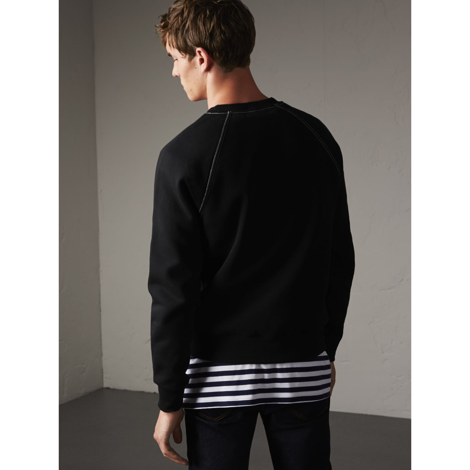 Embroidered Jersey Sweatshirt in Black / White - Men | Burberry Hong Kong - gallery image 3