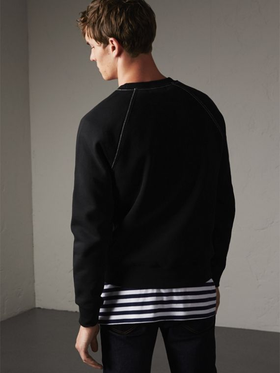 Embroidered Jersey Sweatshirt in Black / White - Men | Burberry Hong Kong - cell image 2