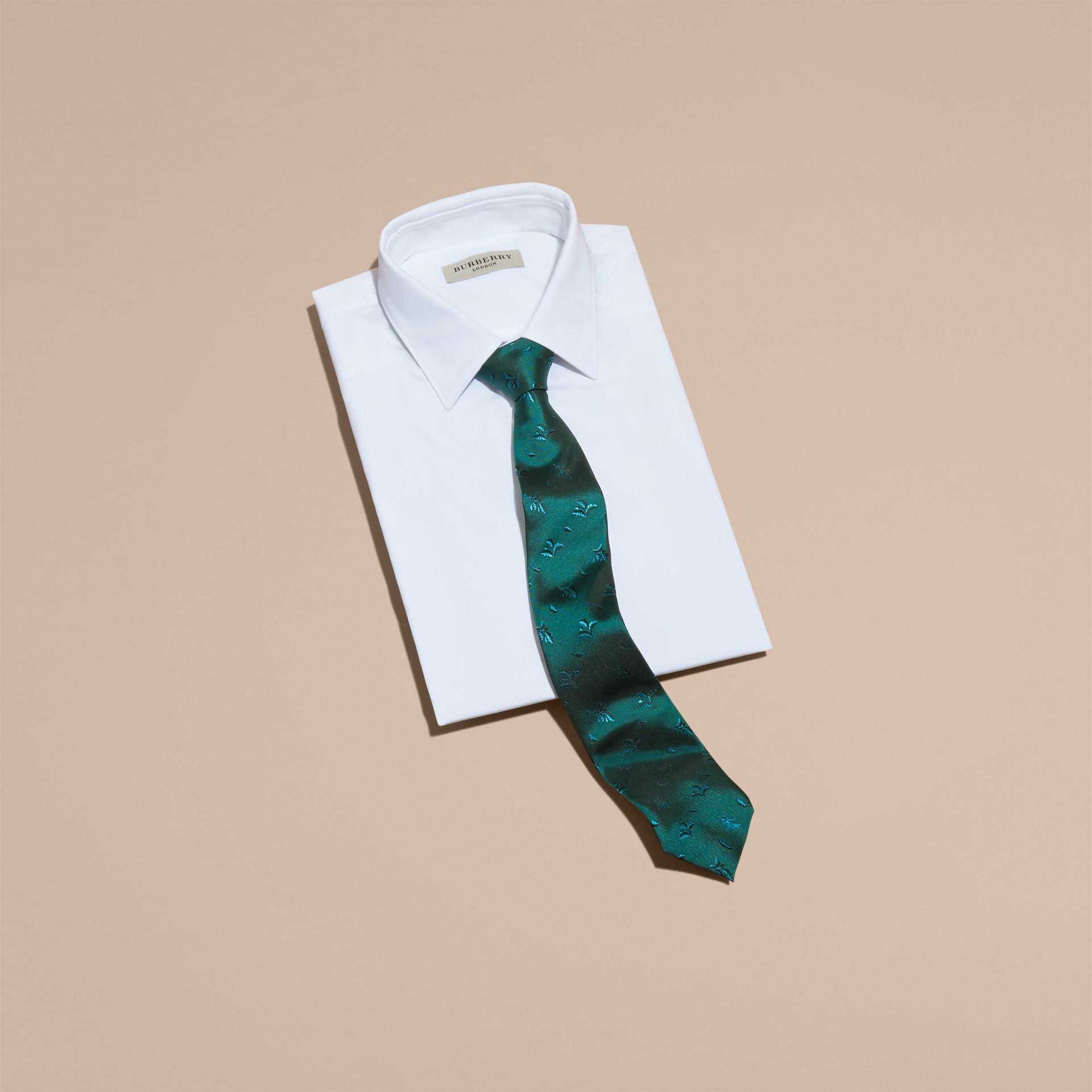 Teal Modern Cut Leaf Jacquard Silk Tie Teal - gallery image 3