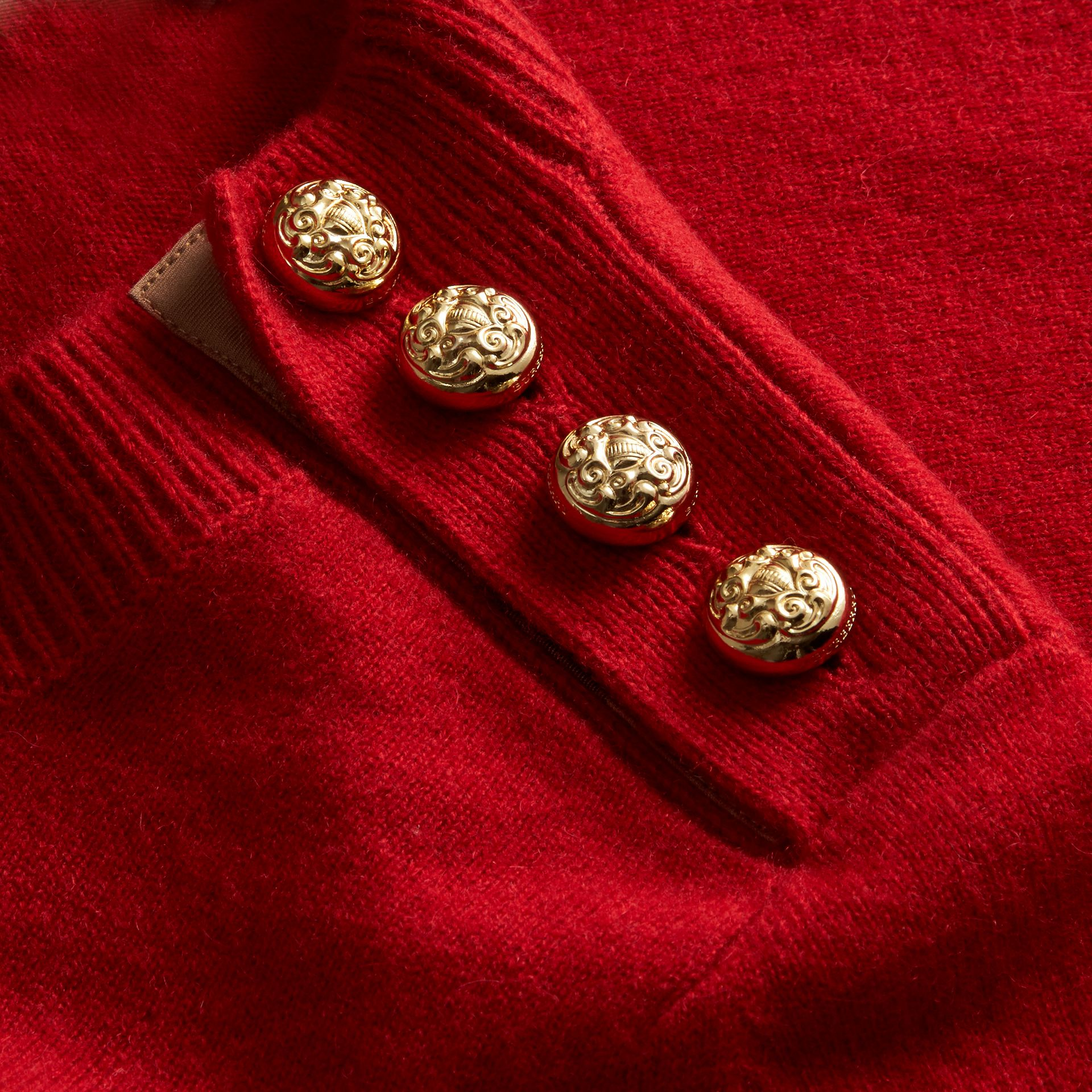 Cashmere Sweater with Crested Buttons Parade Red - gallery image 2