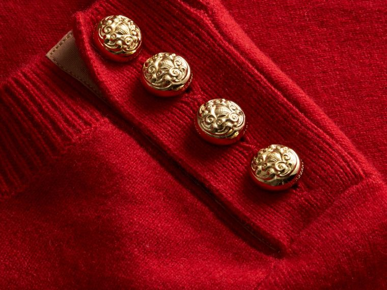 Cashmere Sweater with Crested Buttons Parade Red - cell image 1