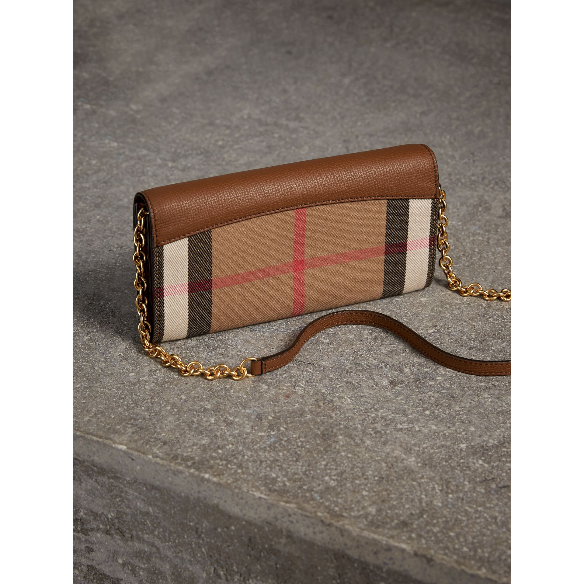House Check and Leather Wallet with Chain in Tan - Women | Burberry - gallery image 4